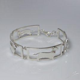 Bracciale 4 sezioni Bassotto a pelo corto con diamanti e Rubini