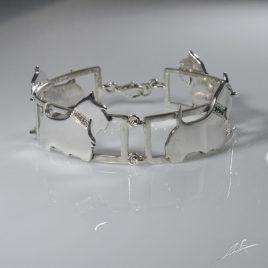 Bracciale 4 sezioni Schottish diamanti e smeraldi