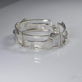 Bracciale 4 sezioni Bassotto a pelo duro con diamanti neri natur