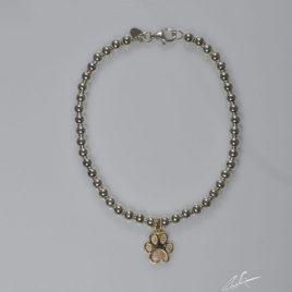 Bracciale a pallini in argento con zampina in oro 9kt