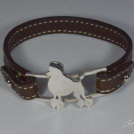 Bracciale cinturino in vera pelle Barbone /  Barboncino