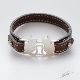 Bracciale cinturino pelle gatti