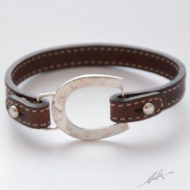 Bracciale cinturino pelle ferro grande