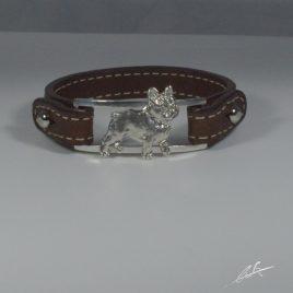 Bracciale cinturino in vera pelle Bulldog Francese