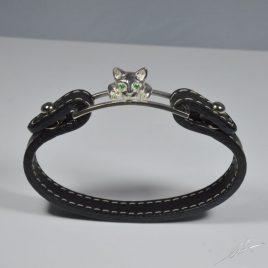 Bracciale cinturino pelle testa di gatto con gli smeraldi