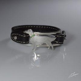 Bracciale cinturino in pelle Setter Irlandese con collarino di s