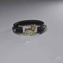 Bracciale cinturino in vera pelle con sezione in argento e Bull