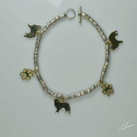 Bracciale intercalari in argento con charms in oro Australian sh