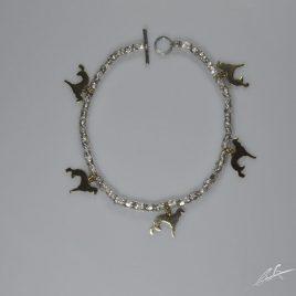 Bracciale intercalari in argento con charms Saluki in oro 9 kt
