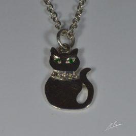 Ciondolo sagoma gatto con diamanti e pietre di colore