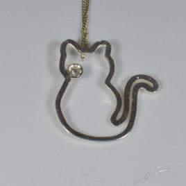 Girocollo contorno gatto e diamante