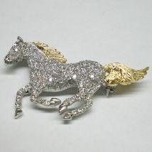 Spilla cavallo al galoppo con Brillanti