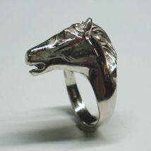 Anello Testa di Cavallo Oro bianco