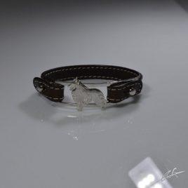 Bracciale cinturino in vera pelle Pastore Belga 3D Groenendael