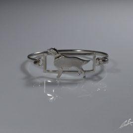 Bracciale rigido Setter Irlandese con collarino di Diamanti neri naturali