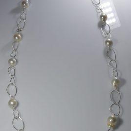 Girocollo Perle naturali di acqua dolce diametro mm13 con nucleo, di 80 cm (misura su richiesta)