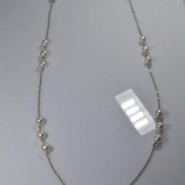 Collana di perle naturali e argento di 80 cm (pezzo unico)