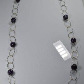 Girocollo in argento e sfere di Ametista di 90 cm (pezzo unico)