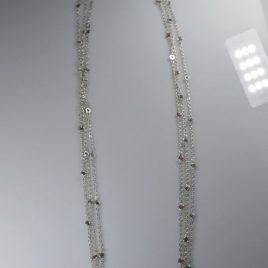 Girocollo rolò piccola di 80 cm con18 pietre preziose naturali (Rubini, Smeraldi o Zaffiri) su richiesta: con Diamanti neri o classici