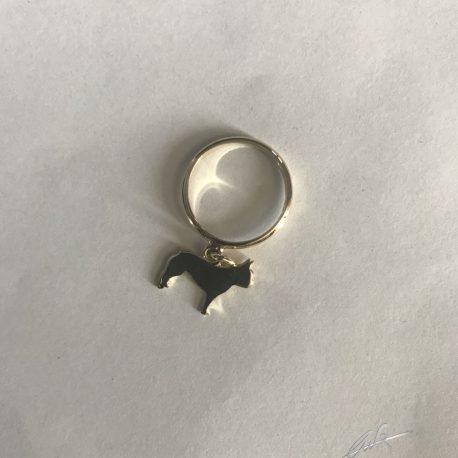 anellino bull francese pendente in oro 18 kt