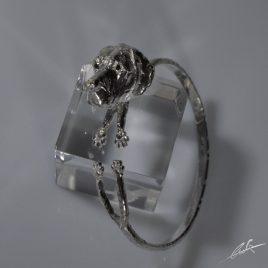 Bracciale rigido zampine testa Alano 3D con occhi di Zaffiri naturali realizzato interamente a mano