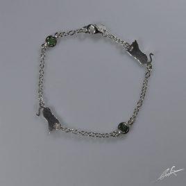 Bracciale 2 pietre preziose (Smeraldi) Gatto sdraiato