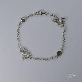 Bracciale 2 pietre preziose Shihitzu 3D con Smeraldi naturali