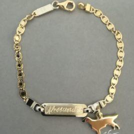 Bracciale Setter irlandese pendente e targhetta in oro giallo