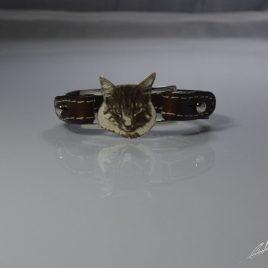 Braccialetto cinturino in vera pelle gatto Norvegese delle foreste realizzato con fotoincisione