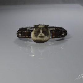 Braccialetto cinturino in vera pelle gatto Ragdoll realizzato con tecnica della fotoincisione