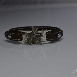 Bracciale cinturino in vera pelle gatto Bengala realizzato con la tecnica della fotoincisione
