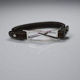 Bracciale cinturino vera pelle punte Bacchette batteria incrociate