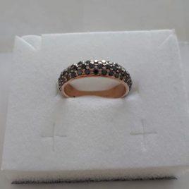 Anello Fedina in oro rosa 18 Kt con  pavè di Diamanti black naturali