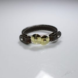 Bracciale cinturino in vera pelle Piatti lucidi Hi-hat in argento e bronzo