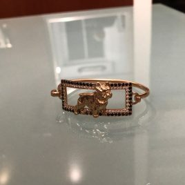 Bracciale rigido Bull francese in oro rosa 18 Kt con due giri di Diamanti Black – White
